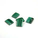 Gemstone Flat Back Single Bevel Buff Top Stone - Cushion 08x6MM MALACHITE