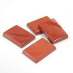 Gemstone Flat Back Single Bevel Buff Top Stone - Cushion 14x10MM RED JASPER