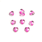Czech Pressed Glass Bead - Smooth Heart 06x6MM CRYSTAL PINK LINE