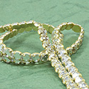 Rhinestone Banding with Brilliant 2-Cut Chaton Rose 1 Row - Round 20SS CRYSTAL-GOLD-WHITE