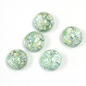 Glass Medium Dome Lampwork Cabochon - Round 11MM MINT OPAL (02201)