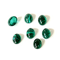 Glass Medium Dome Lampwork Cabochon - Oval 08x6MM FLAWED EMERALD