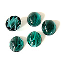 Glass Medium Dome Lampwork Cabochon - Oval 12x10MM FLAWED EMERALD