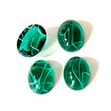 Glass Medium Dome Lampwork Cabochon - Oval 14x10MM FLAWED EMERALD