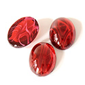 Glass Medium Dome Lampwork Cabochon - Oval 18x13MM FLAWED RUBY