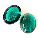 Glass Medium Dome Lampwork Cabochon - Oval 25x18MM FLAWED EMERALD