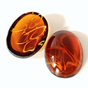 Glass Medium Dome Lampwork Cabochon - Oval 25x18MM FLAWED TOPAZ