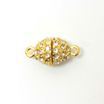 Magnetic Rhinestone Clasp - Oval 14x11MM CRYSTAL SATIN GOLD
