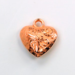 Metalized Plastic Pendant- Engraved Heart 18MM COPPER