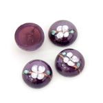 Glass Medium Dome Lampwork Cabochon - Round 13MM WHITE ON AMETHYST (00569)