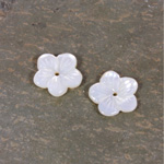 Shellstone Flower Carved Round with Center Hole 12MM WHITE MOP