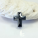 German Glass Faceted Pendants - Cross 13x11MM HEMATITE Coated