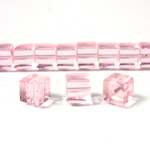 Glass Bead Table Polished - Cube 06x6MM PINK