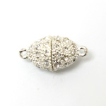 Magnetic Rhinestone Clasp - Oval 19x13MM CRYSTAL SILVER