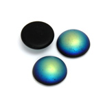 Glass Medium Dome Coated Cabochon - Round 15MM MATTE JET AB