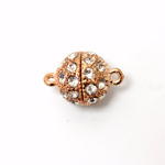 Magnetic Rhinestone Clasp - Round 12MM CRYSTAL ROSE GOLD