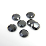 Gemstone Flat Back Stone with Faceted Top and Table - Round 07MM HEMATITE