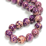 Gemstone Bead - Smooth Round 12MM SEA SEDIMENT JASPER DYED PURPLE