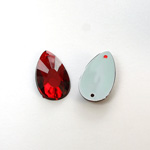 Plastic Flat Back 2-Hole Foiled Sew-On Stone - Pear 22x11MM RUBY