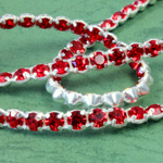 Rhinestone Banding with MC Chaton 1 Row - Round 19SS LT SIAM RUBY-SILVER-WHITE