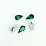 Plastic Point Back Foiled Stone - Pear 10x6MM EMERALD