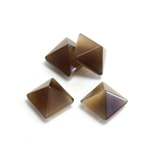 Fiber-Optic Cabochon - Pyramid Top 10x10MM CAT'S EYE BROWN