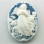 Plastic Cameo - Angel Oval 40x30MM WHITE ON ROYAL BLUE