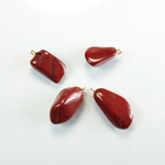 Gemstone Tumble Polished Pendant with Brass Ring - Small RED JASPER