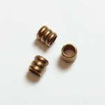 Brass Machine Made Bead - Fancy Tube 04MM RAW BRASS