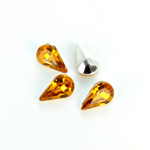 Plastic Point Back Foiled Stone - Pear 13x8MM TOPAZ