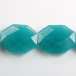Gemstone Bead - Faceted Octagon 25x20MM Dyed QUARTZ Col. 21 TEAL