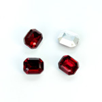 Plastic Point Back Foiled Stone - Cushion Octagon 10x8MM RUBY