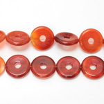 Gemstone Bead - Donut Side Drilled 20MM CORNELIAN