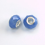 Glass Faceted Bead with Large Hole Silver Plated Center - Round 14x9MM OPAL BLUE