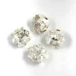 Crystal Stone in Metal Sew-On Setting - Square 04x4MM CRYSTAL-SILVER