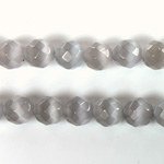 Fiber Optic Synthetic Cat's Eye Bead - Round Faceted 08MM CAT'S EYE LT GREY