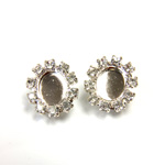 Czech Rhinestone Button - Oval 18x16MM CRYSTAL-SILVER