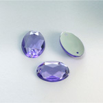 Plastic Flat Back 2-Hole Foiled Sew-On Stone - Oval 18x13MM TANZANITE