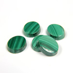 Gemstone Flat Back Single Bevel Buff Top Stone - Oval 12x10MM MALACHITE