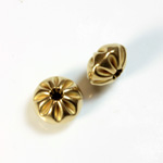 Brass Corrugated Bead - Fancy Melon Mushroom 12x7MM RAW