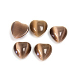 Fiber-Optic Flat Back Cabochon - Heart 10MM CAT'S EYE BROWN