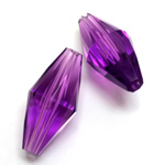 Plastic Bead -  Faceted Elongated Bicone 30x14MM AMETHYST