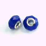 Glass Faceted Bead with Large Hole Silver Plated Center - Round 14x9MM SAPPHIRE