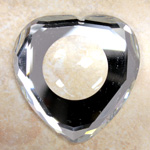 Glass Flat Back Faceted Top Recess Dome in Back Heart Shape 40x39MM CRYSTAL