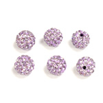 Rhinestone Bead Pave with 1.5MM Hole Metal Base Round 08MM LT PURPLE