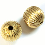Brass Corrugated Bead - Round 18MM RAW