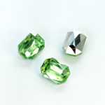 Plastic Point Back Foiled Stone - Cushion Octagon 14x10MM PERIDOT