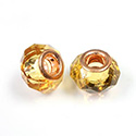 Glass Faceted Bead with Large Hole Copper Plated Center - Round 14x9MM TOPAZ