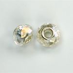 Glass Faceted Bead with Large Hole Silver Plated Center - Round 14x9MM CRYSTAL AB