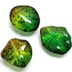 Plastic Bead - Two Tone Speckle Color Smooth Baroque Large 3 Part Mixed GREEN YELLOW